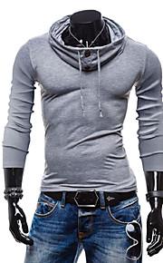 Ανδρικά T-shirt Μονόχρωμο Μαύρο L / Μακρυμάνικο
