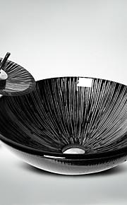 Moderno Tondo Materiale del dissipatore è Vetrotemperato Lavandino bagno Rubinetto per bagno Anello di montaggio per bagno Scarico acqua