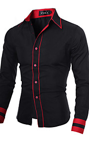 Chemise Grandes Tailles Homme, Couleur Pleine - Coton Basique Travail Business Col Italien Mince Noir & rouge Gris L / Manches Longues / Printemps / Automne