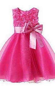 토들러 여아 단 / 프린세스 파티 플로럴 리본 / 멀티 레이어 민소매 드레스 핑크