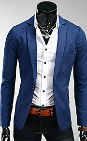 Men's Business Simple Casual Business Casual Plus Size Slim Blazer-Solid Colored Peaked Lapel / Long Sleeve / Work