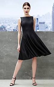A-Line Fit & Flare Bateau Neck Knee Length Jersey Cocktail Party / Company Party Dress with Pleats by TS Couture®