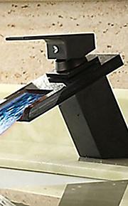Antiek Middenset Waterherfst Keramische ventiel Een Hole Single Handle Een Hole Olie-Gewreven Brons, Wastafel kraan