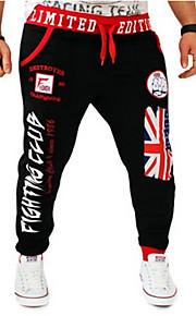Hombre Activo Algodón Activo / Holgado / Pantalones de Deporte Pantalones - Letra Estampado Negro / Deportes / Fin de semana