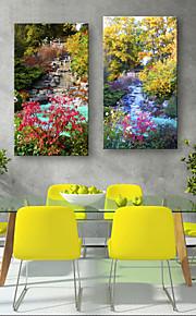 Landskap Klassisk, Två paneler Duk Vertikal Tryck väggdekor Hem-dekoration
