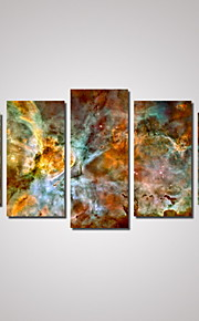 Landskap Abstrakta landskap Kartor Traditionell, Fem paneler Horisontell Tryck väggdekor Hem-dekoration