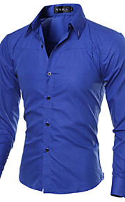 Men's Work Business Plus Size Cotton Slim Shirt - Solid Colored Basic Spread Collar Navy Blue XXXL / Long Sleeve / Spring / Fall