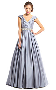 A-Line V Neck Floor Length Satin Prom / Formal Evening Dress with Beading Criss Cross by TS Couture®