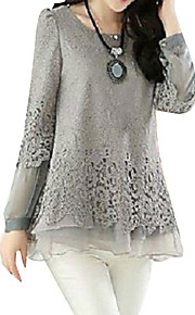 Women's Basic Plus Size Puff Sleeve Cotton Loose Blouse - Solid Colored Lace / Layered / Spring / Fall