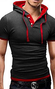 Ανδρικά Καθημερινό / Γραφείο / Αθλητικό / Μεγάλα Μεγέθη Μείγμα Βαμβακιού Απλό Κοντομάνικο T-shirt-Μαύρο / Γκρι