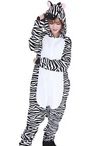 Kigurumi Pajamas Zebra Onesie Pajamas Costume Flannel Toison Black / White Cosplay For Adults' Animal Sleepwear Cartoon Halloween