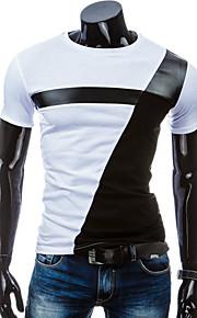 男性用 スポーツ - パッチワーク Tシャツ ラウンドネック スリム カラーブロック コットン ブラック&ホワイト / 半袖