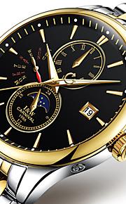 Carnival 남성용 패션 시계 기계식 시계 오토메틱 셀프-윈딩 스테인레스 스틸 화이트 / 골드 30 m 야광 달의 위상 멋진 아날로그 캐쥬얼 - 블랙