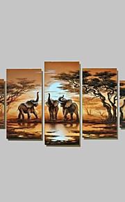 Håndmalte Landskap enhver form, Tradisjonell Hang malte oljemaleri Hjem Dekor Fem Paneler