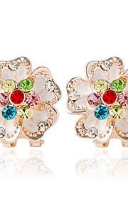 Dame 1 Dråbeøreringe Mode Legering Blomst Smykker Regnbue Bryllup Kostume smykker