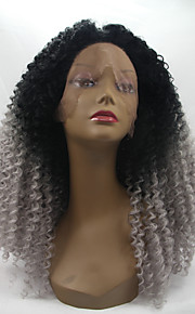 Synthetic Lace Front Wig Kinky Curly Natural Hairline Dark Roots Ombre Hair Black Women's Lace Front Natural Wigs Medium Synthetic Hair