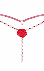 Women's G-strings & Thongs Panties - Beaded, Solid Colored Low Waist