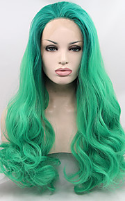 Synthetic Lace Front Wig Natural Wave Natural Hairline Green Women's Lace Front Natural Wigs Long Synthetic Hair