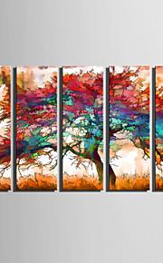 Stretchad Kanvastryck Landskap Botanisk Fem paneler Vertikal Tryck väggdekor Hem-dekoration