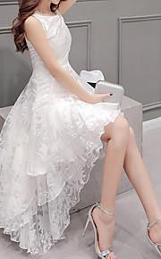 Mujer Tallas Grandes Línea A Vestido Un Color Asimétrico Blanco