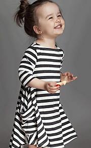 Toddler Dívčí Proužky Denní Proužky Dlouhý rukáv Šaty Bílá