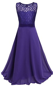 아동 여아 파티 솔리드 레이스 민소매 맥시 폴리에스테르 드레스 핑크