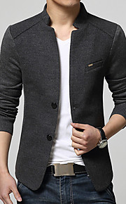 Men's Daily Street chic Spring / Fall Plus Size Regular Blazer, Solid Colored Stand Long Sleeve Cotton / Acrylic / Polyester Gray / Navy Blue / Wine XL / XXL / XXXL / Business Casual / Slim