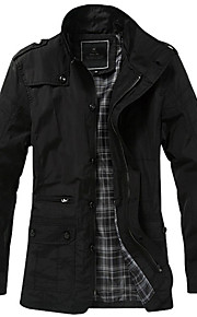 Men's Plus Size Vintage Casual Trench CoatSolid Stand Long Sleeve Fall Winter Black Brown Polyester Medium k358