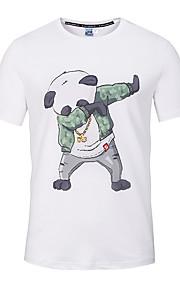 Hombre Chic de Calle / Punk & Gótico Deportes / Playa Estampado - Algodón Camiseta, Escote Redondo Delgado Animal Blanco XL / Manga Corta