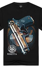 Hombre Activo / Punk & Gótico Deportes Estampado - Algodón Camiseta, Escote Redondo Negro L / Manga Corta