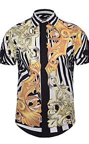 رجالي قميص نحيل رياضي Active / أناقة الشارع / بانغك & قوطي طباعة مجرد, مناسب للحفلات / نادي أسود XL / كم قصير / الصيف