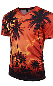 Ανδρικά T-shirt Αθλητικά Μπόχο / Κομψό στυλ street / Πανκ & Γκόθικ Φυτά Λαιμόκοψη V Λεπτό Στάμπα Τροπικό φύλλο Κρασί XL / Κοντομάνικο / Άνοιξη / Καλοκαίρι