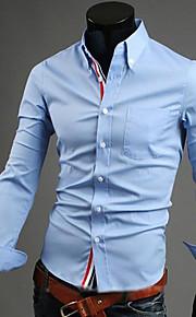 Муж. Офис Классический Большие размеры - Рубашка Хлопок, Воротник с уголками на пуговицах (button-down) Деловые Однотонный Темно-синий XL / Длинный рукав / Весна / Осень