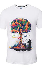 Hombre Activo / Chic de Calle Deportes Estampado Camiseta, Escote Redondo Blanco XL / Manga Corta / Primavera / Verano