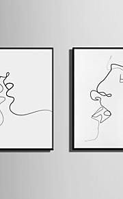 Innrammet Lerret Innrammet Sett Abstrakt Mennesker Veggkunst, PVC Materiale med ramme Hjem Dekor Rammekunst Stue Soverom Kjøkken