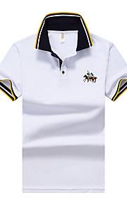 スポーツ Polo 活発的 / ストリートファッション シャツカラー ソリッド コットン / 半袖 / ビーチ