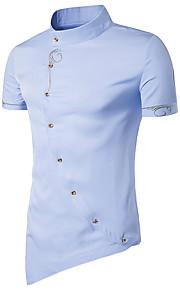 رجالي قطن قميص نحيل رقبة طوقية مرتفعة - النمط الصيني أساسي لون سادة أزرق البحرية L / كم قصير / الصيف