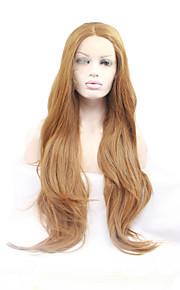 Syntetisk blonder foran parykker Naturlige bølger Midtskill Naturlig hårlinje Blond Dame Blonde Forside Karneval Parykk Halloween parykk