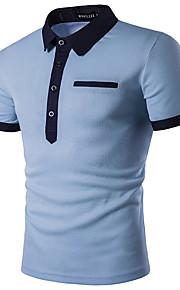 男性用 Polo ビジネス / 活発的 / ストリートファッション シャツカラー スリム ソリッド / 半袖