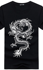 Hombre Básico / Tejido Oriental Deportes Tallas Grandes Estampado - Algodón Camiseta, Escote Redondo Delgado Animal Dragón Negro XXXL / Manga Corta / Verano