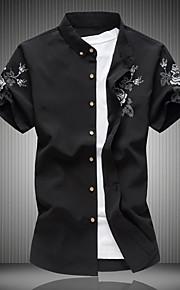 رجالي قطن قميص نحيل ياقة كلاسيكية ألوان متناوبة أسود XXXXL / كم قصير / الصيف