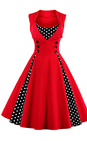 Women's Plus Size Going out Vintage A Line Dress - Polka Dot / Solid Color Red, Print