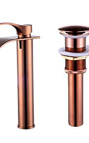 Hedendaagse Keramische ventiel Single Handle Een Hole Goud Rose, Kraan set