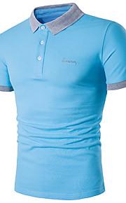 Муж. Большие размеры - Polo Хлопок, Рубашечный воротник Тонкие Активный Однотонный Темно синий XXXL / С короткими рукавами / Лето
