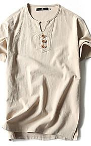 남성용 솔리드 라운드 넥 플러스 사이즈 티셔츠, 베이직 / 시누아즈리 스포츠 면 네이비 블루 XXXL / 짧은 소매 / 여름
