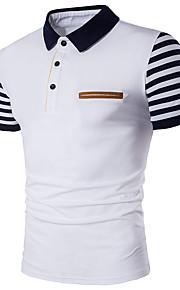 男性用 プラスサイズ Polo 活発的 シャツカラー スリム ストライプ コットン / 半袖