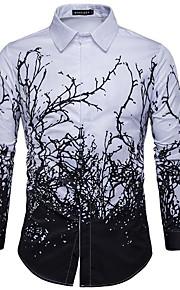 男性用 ワーク - プリント シャツ ワイドカラー スリム フラワー ブラック&ホワイト / 長袖