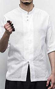 Hombre Tejido Oriental Trabajo Algodón / Lino Camisa Un Color Beige XXXL / Escote Chino