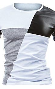 Муж. Пэчворк Футболка Хлопок, Круглый вырез Тонкие Активный Контрастных цветов Черное и белое Белый L / С короткими рукавами / Лето