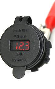 iztoss 2.1a& 2.1a waterdicht Dual USB oplader mobiele telefoon oplader stopcontact met een voltmeter rood licht